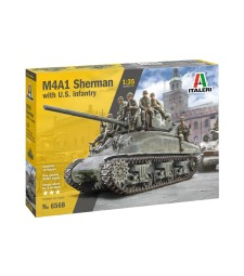 1:35 Американски танк M4A1 SHERMAN с 10 пехотинци