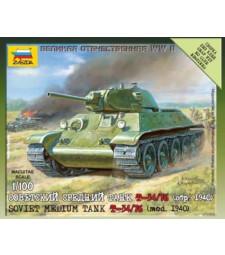 1:100 Съветски среден танк Т-34, модел 76 - сглобка без лепило