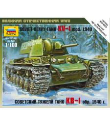 1:100 Съветски Тежък Танк КВ-1 1940 Soviet Heavy Tank KV-1 - сглобка без лепило