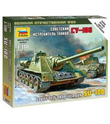 1:100 Съветско самоходно оръдие SU-100 - сглобка без лепило